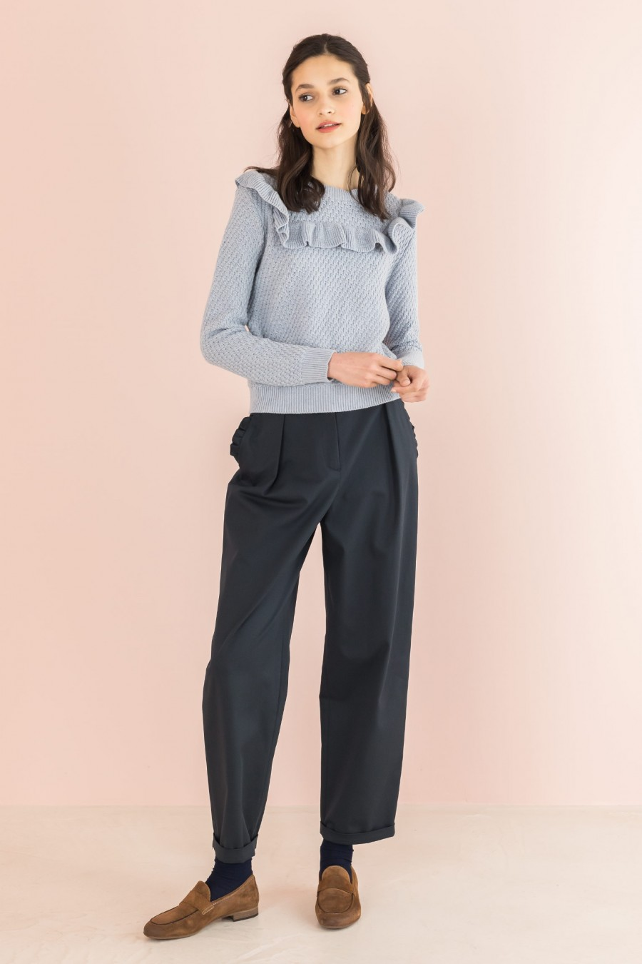 blue egg-shaped trousers with ruffles on the pockets