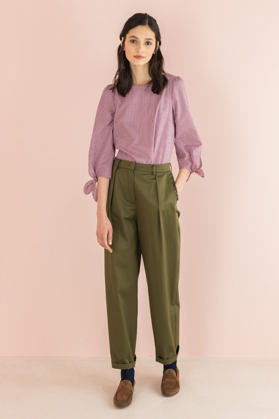 military-colored trousers