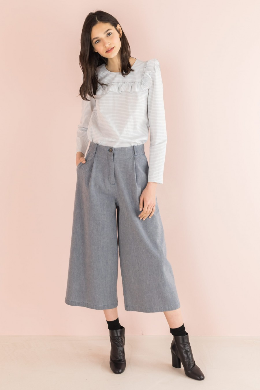 culottes trousers in cotton and linen