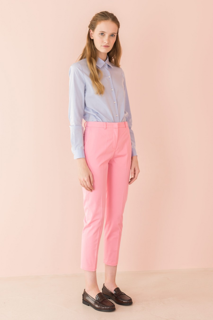 pink drainpipe trousers
