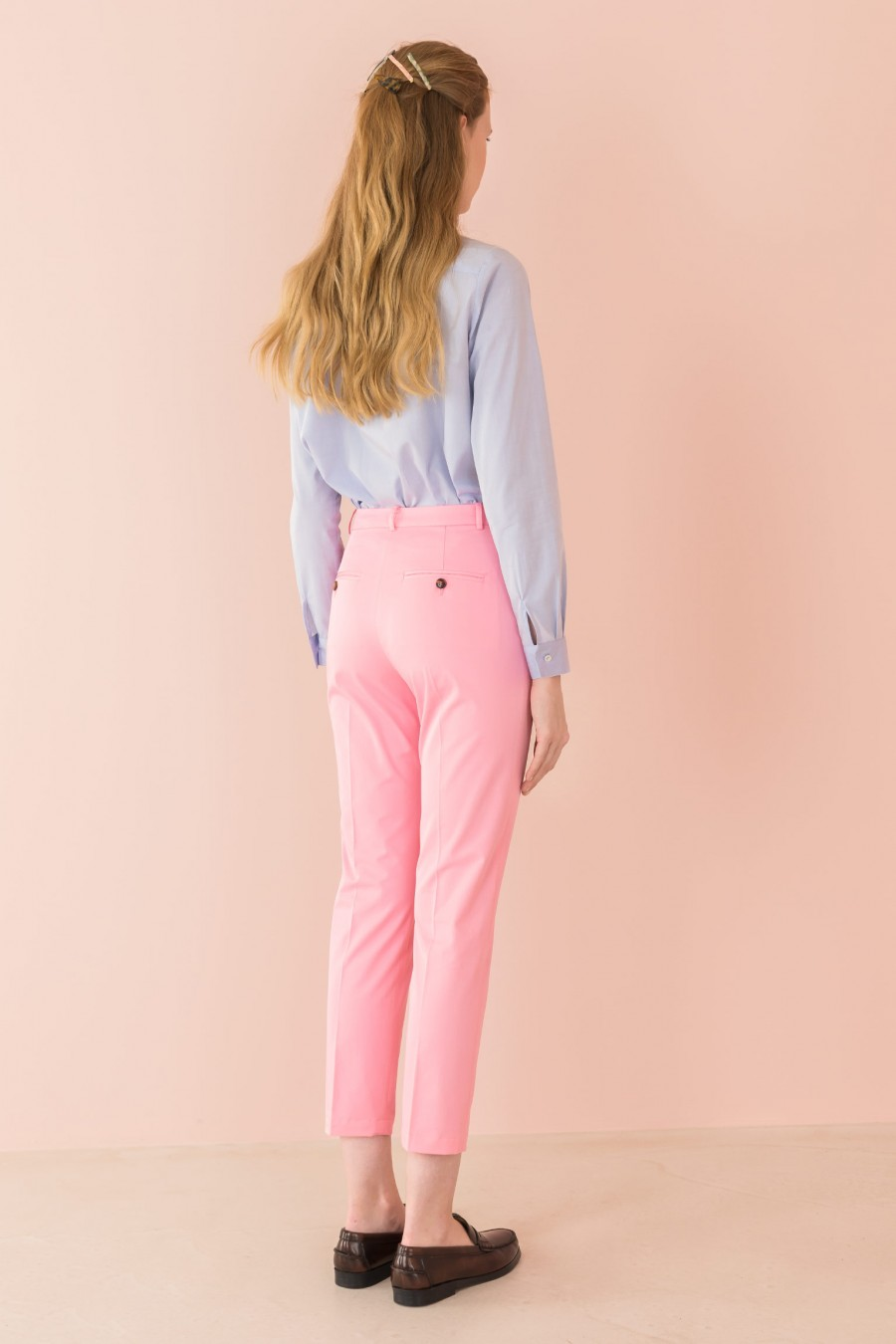 pink trousers in cotton