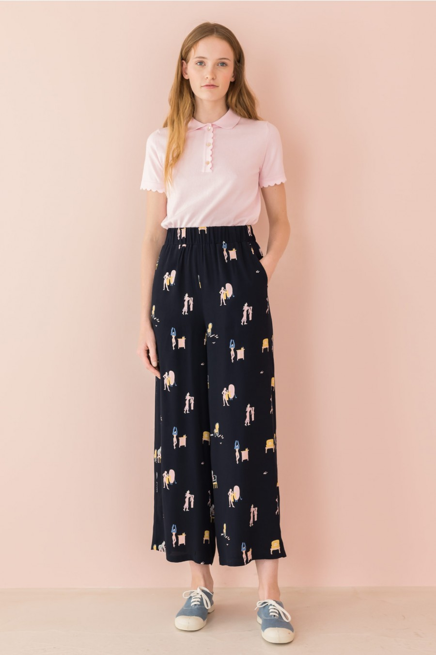 blue wide trousers with elastic band