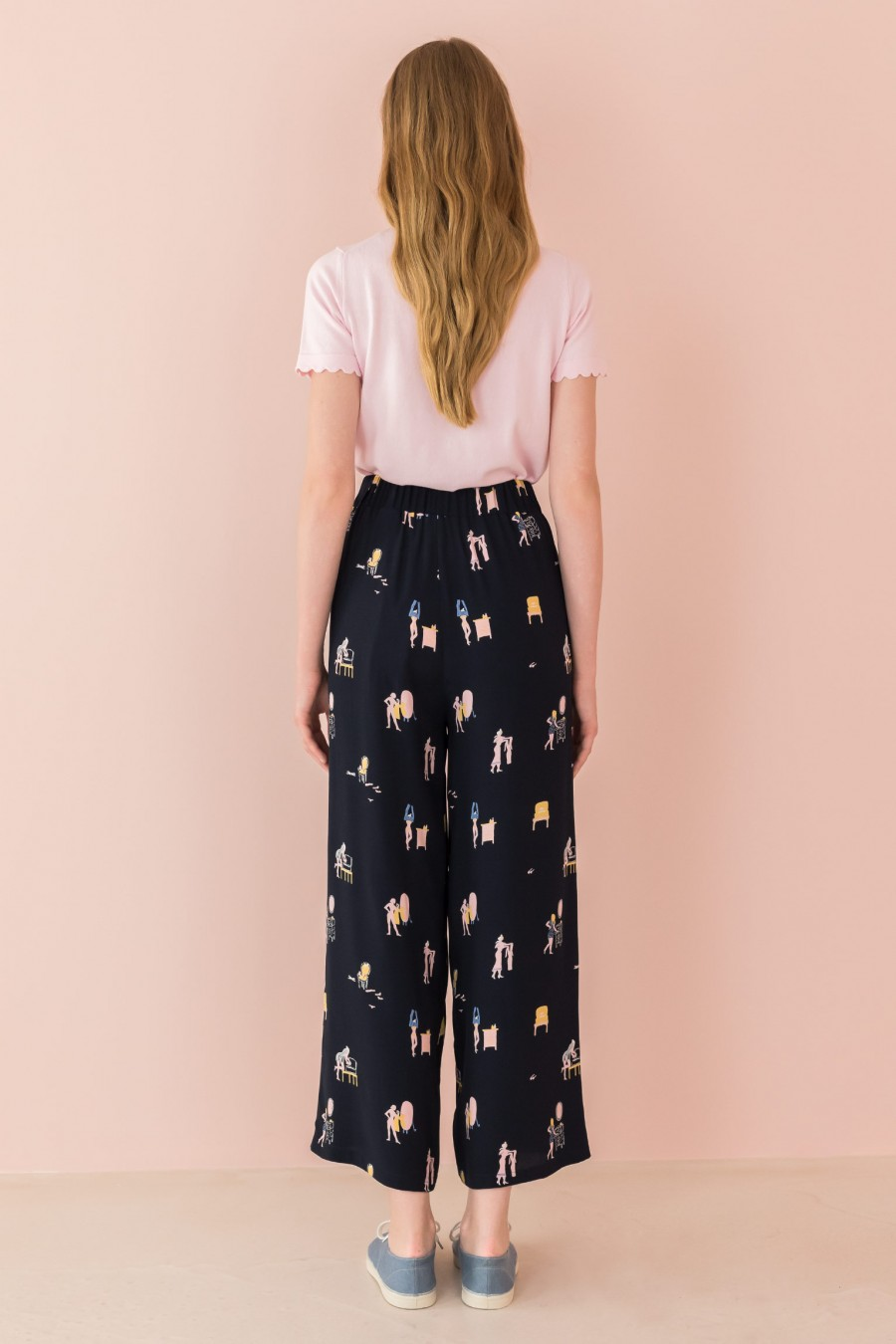 blue trousers with pattern