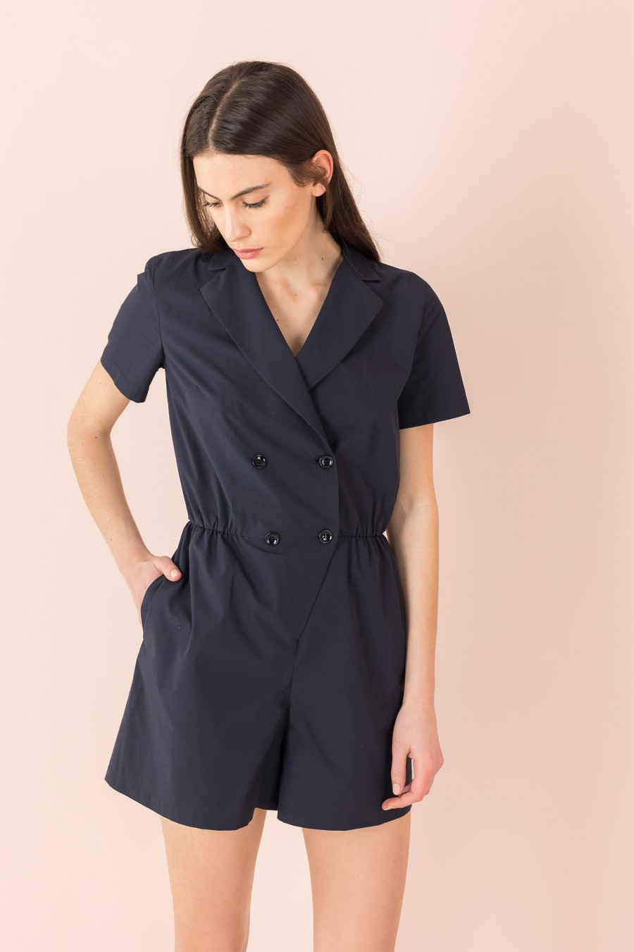 blue overalls with short sleeves