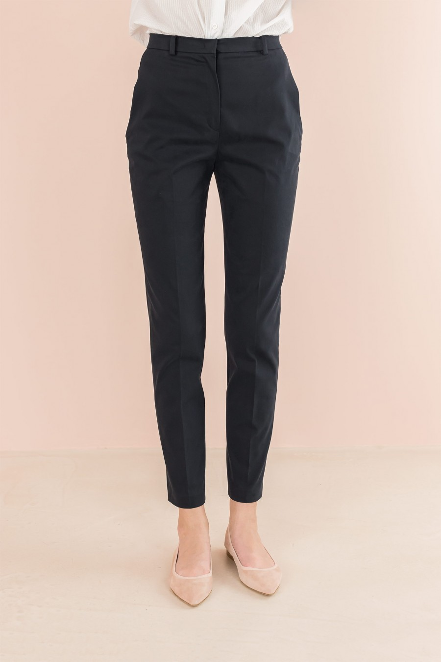velvety-cotton blue trousers