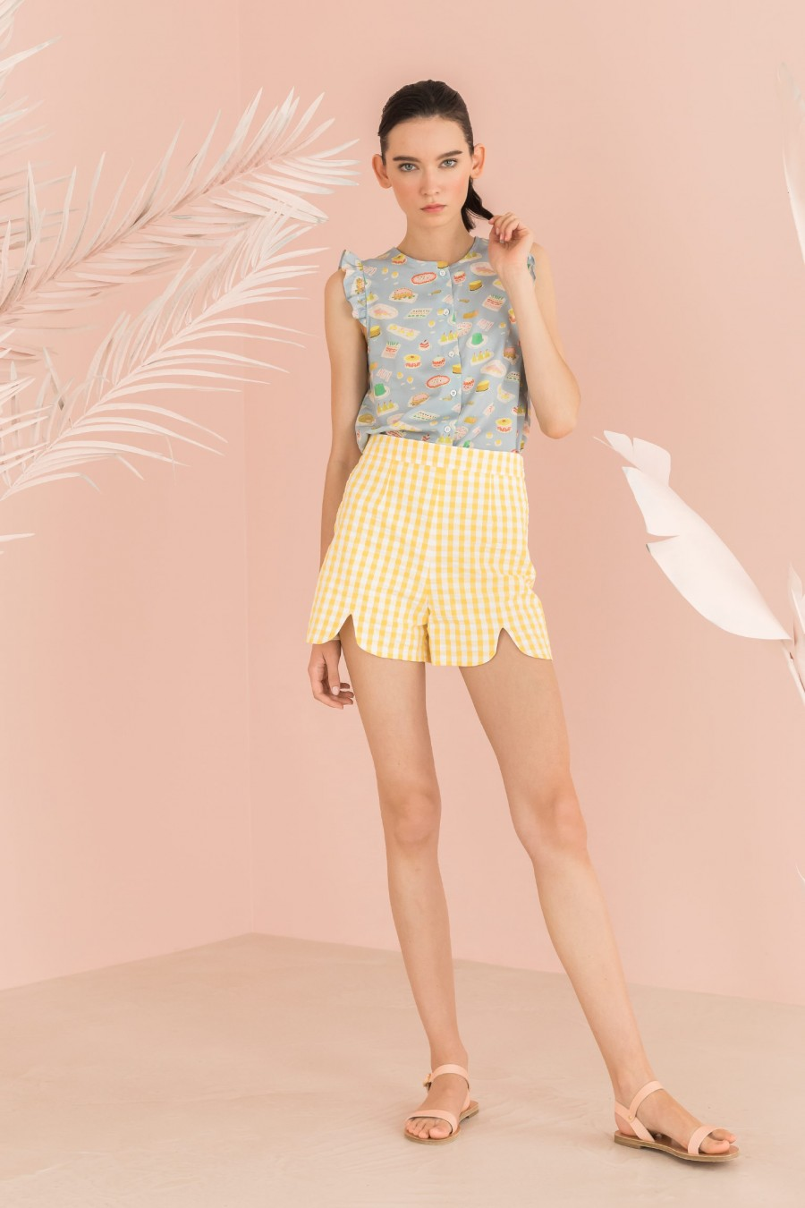White and yellow vichy shorts