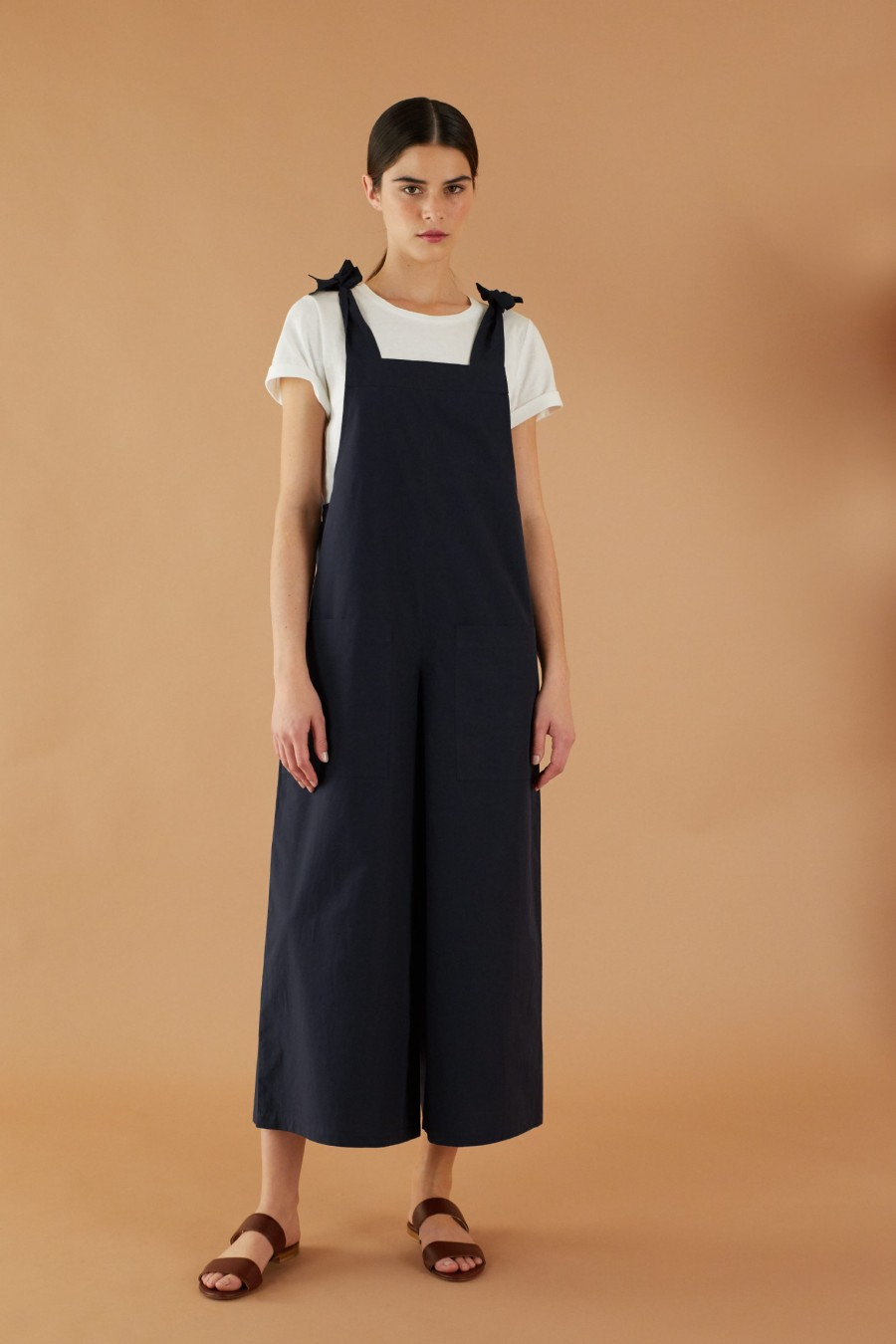 Blue jumpsuit with wide legs