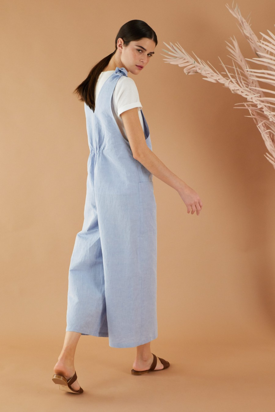Light blue overalls with adjustable bows