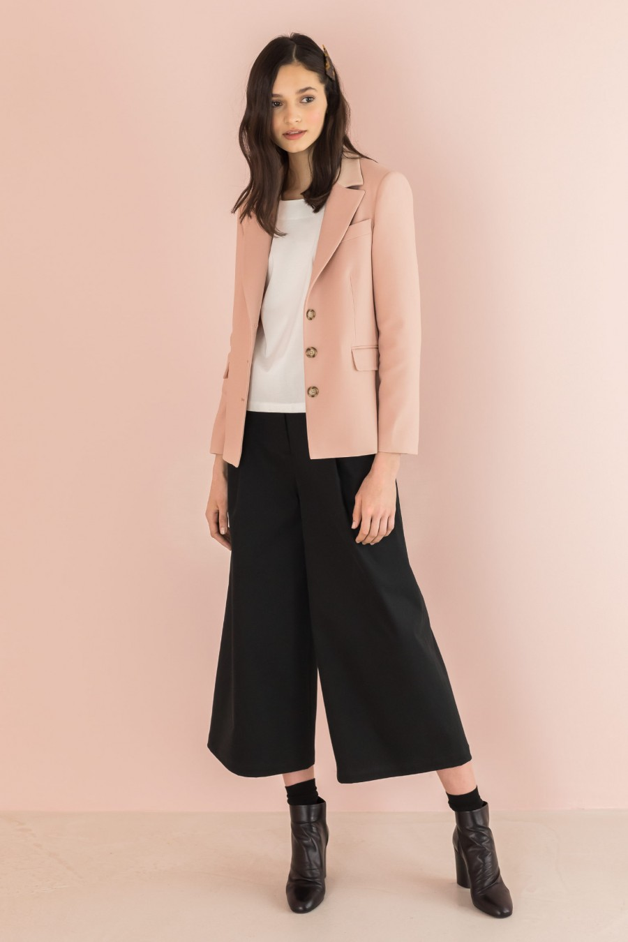 blush jacket tone-on-tone leather inserts