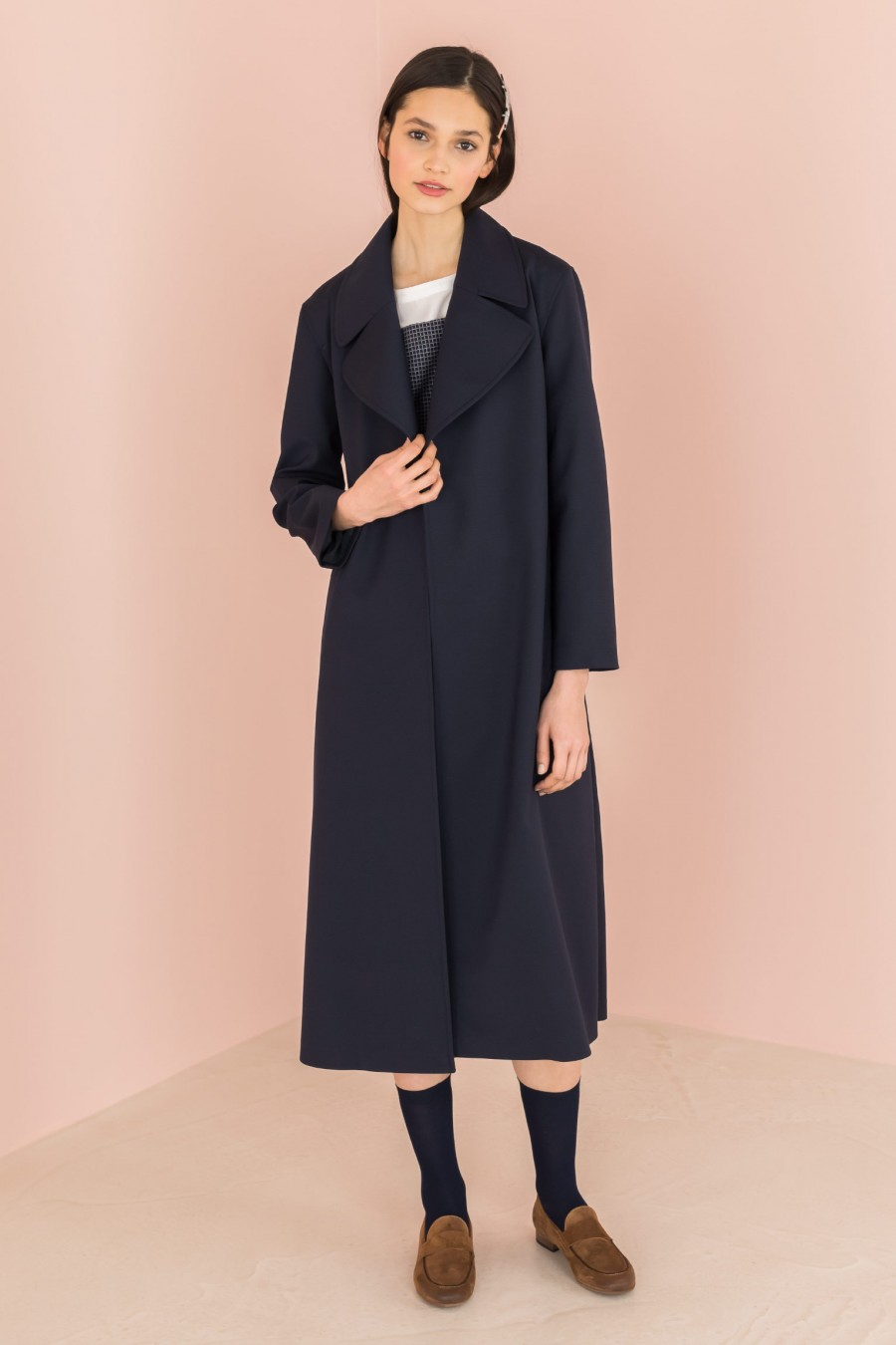 long blue trench