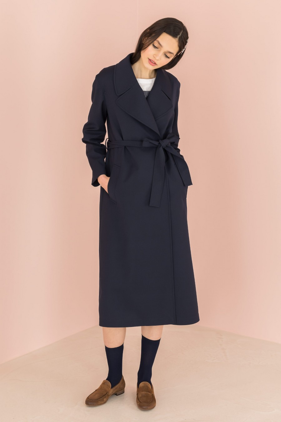 long blue trench with strap