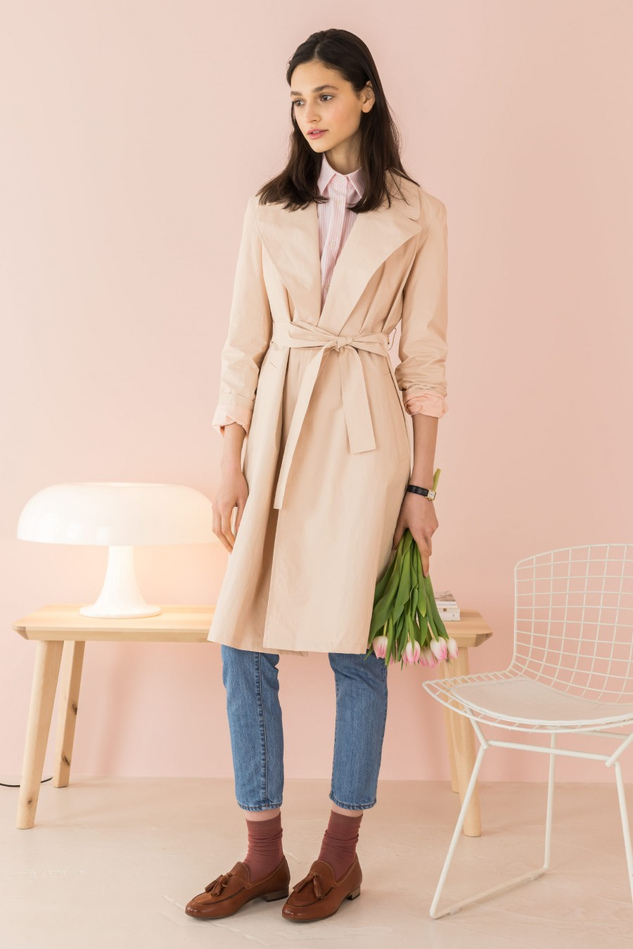 pink waterproof trench