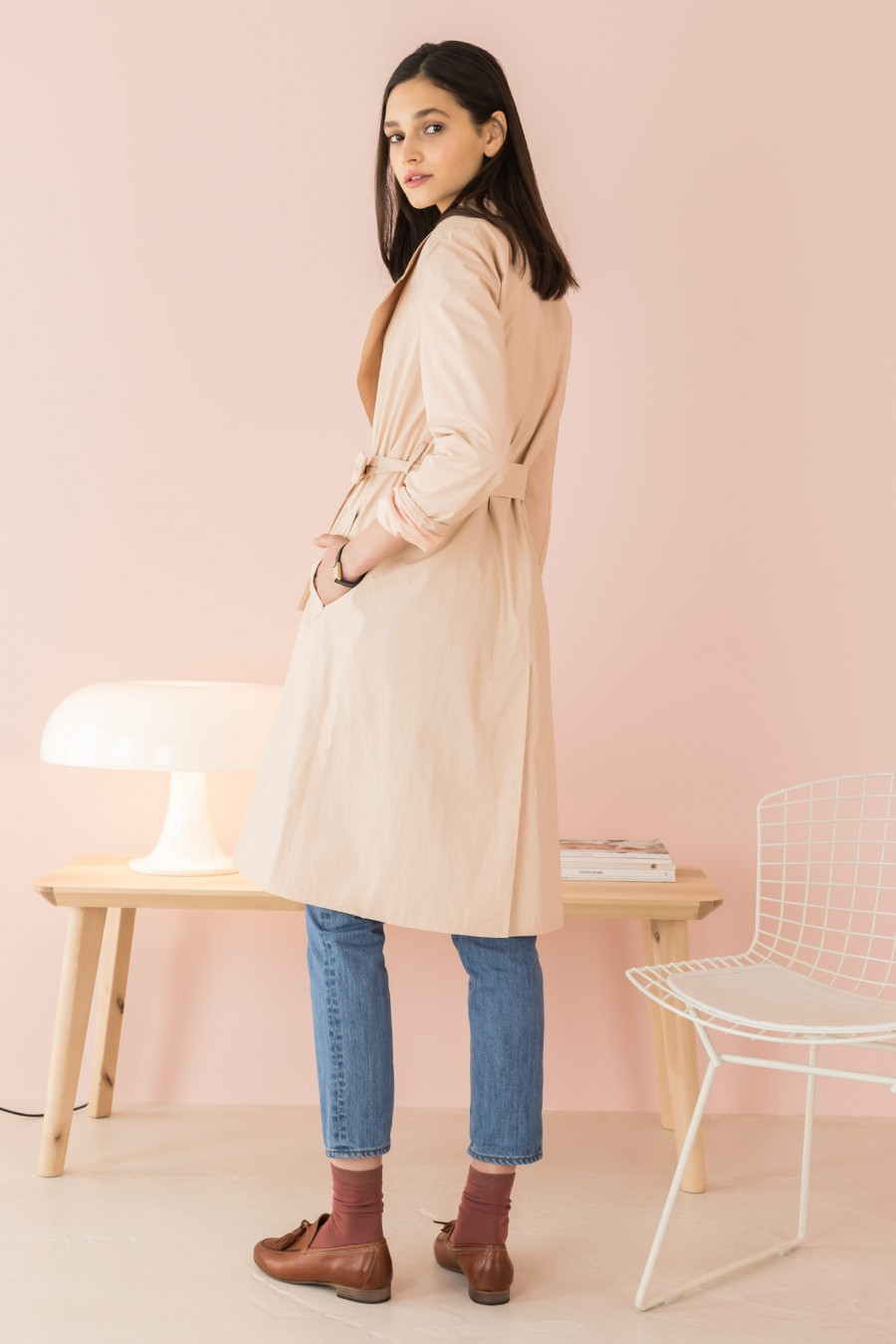 pink trench with strap