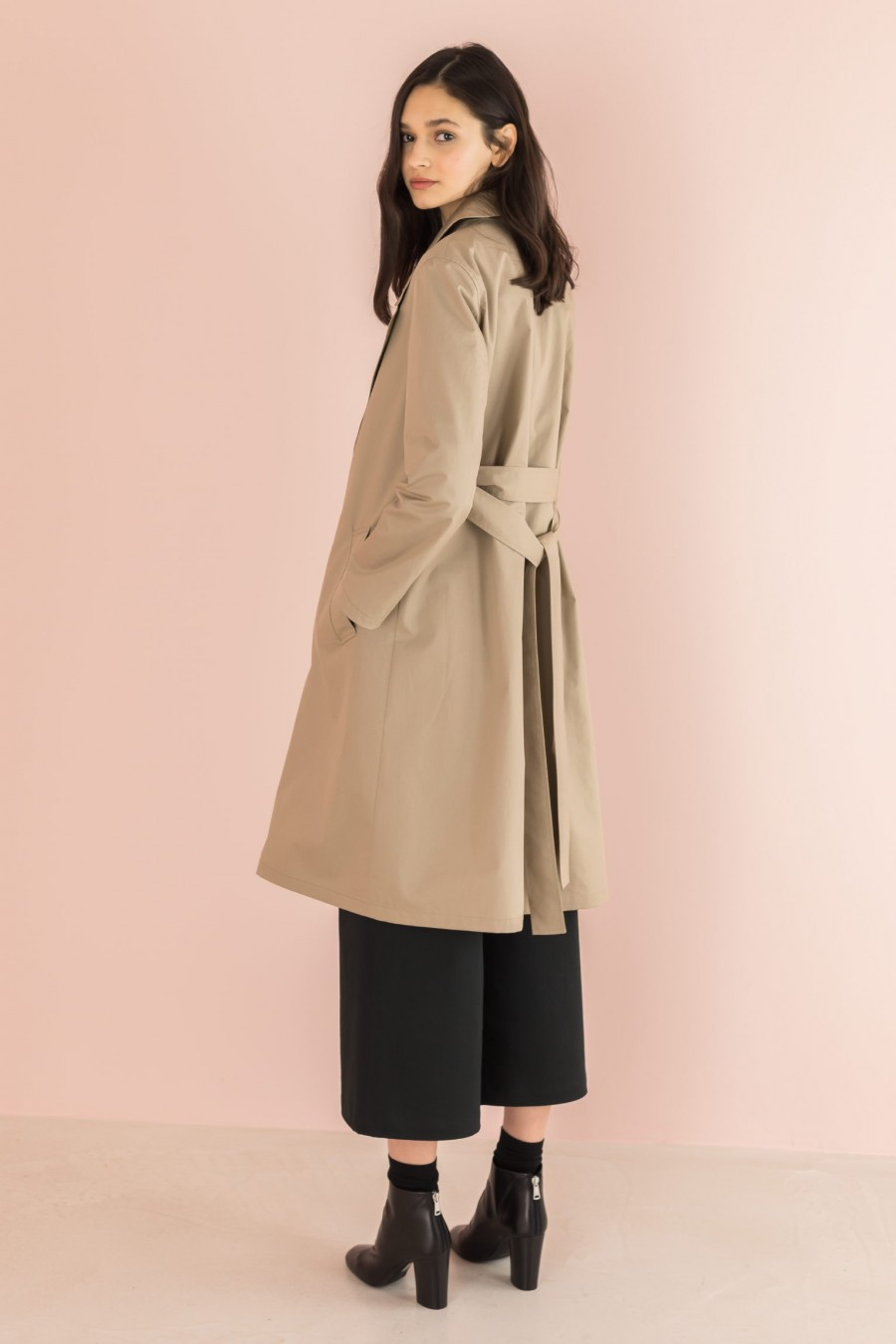 beige cotton overcoat with strap