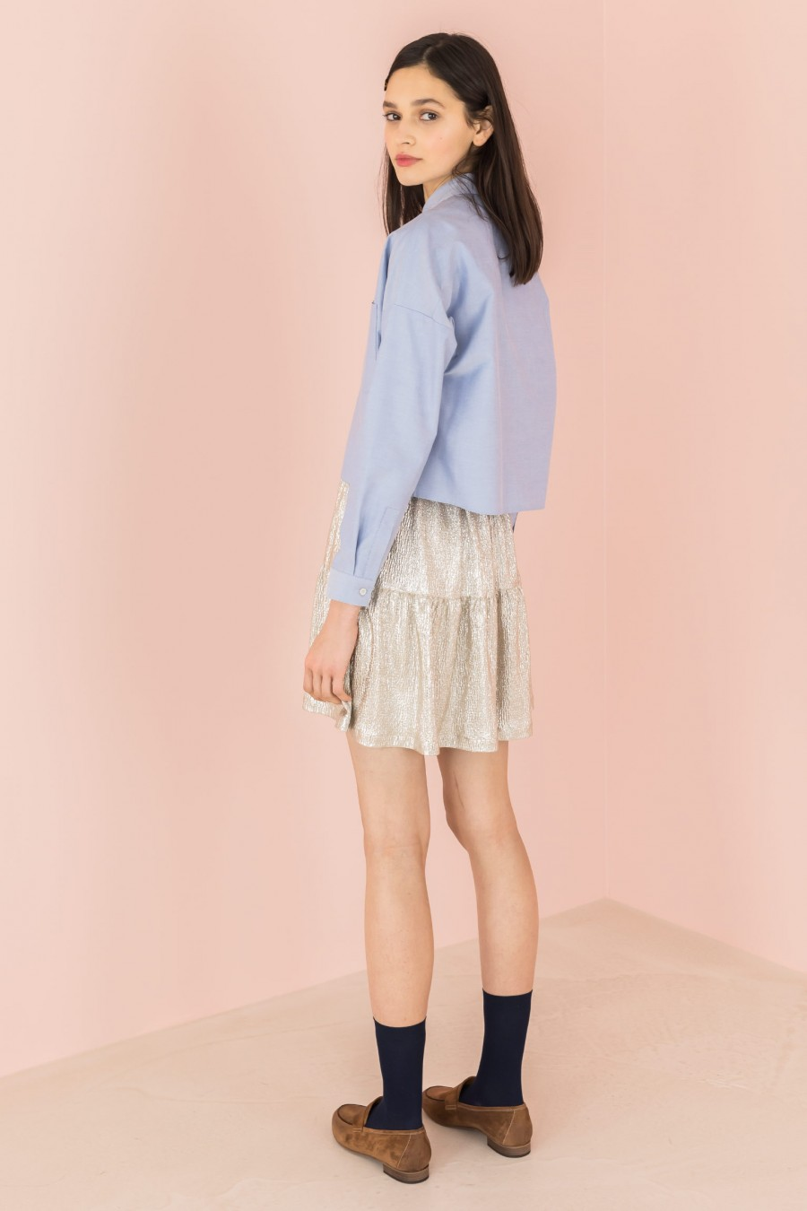 platinum-colored summer skirt