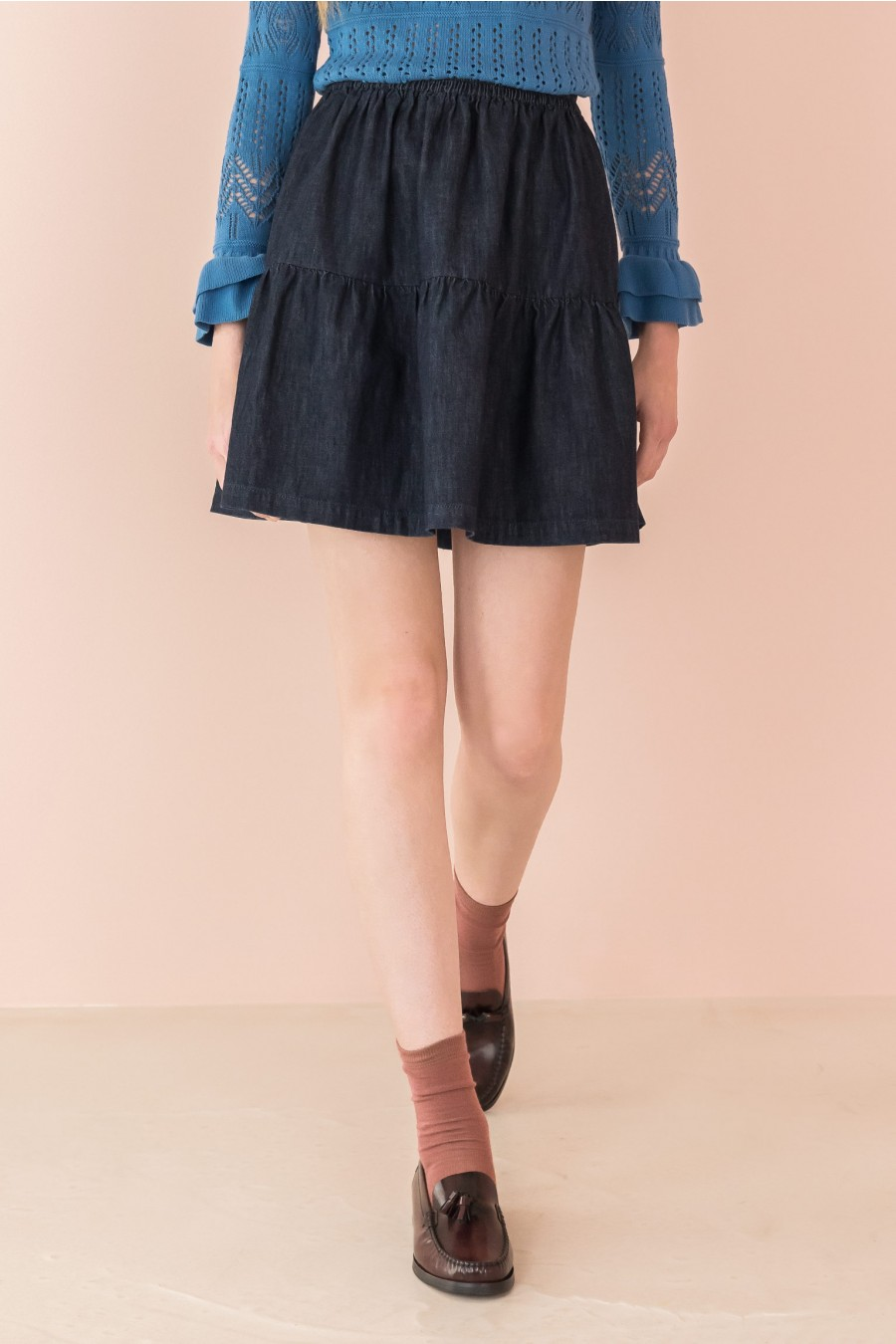 denim gathered skirt