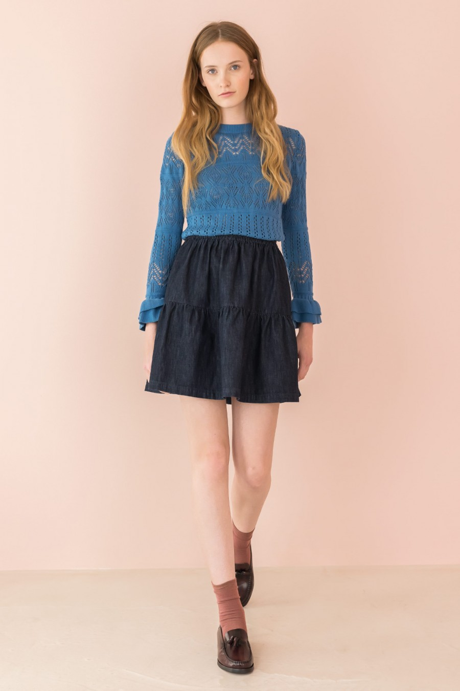 dark denim skirt