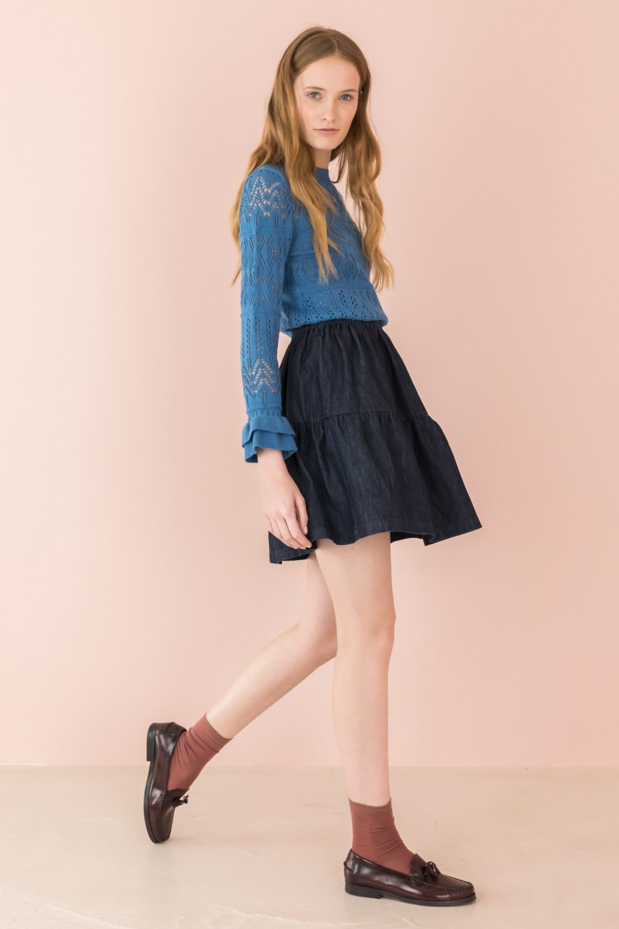 dark denim gathered skirt