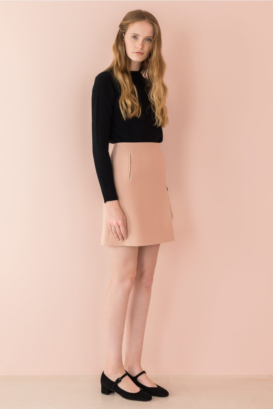 skirt with leather trim