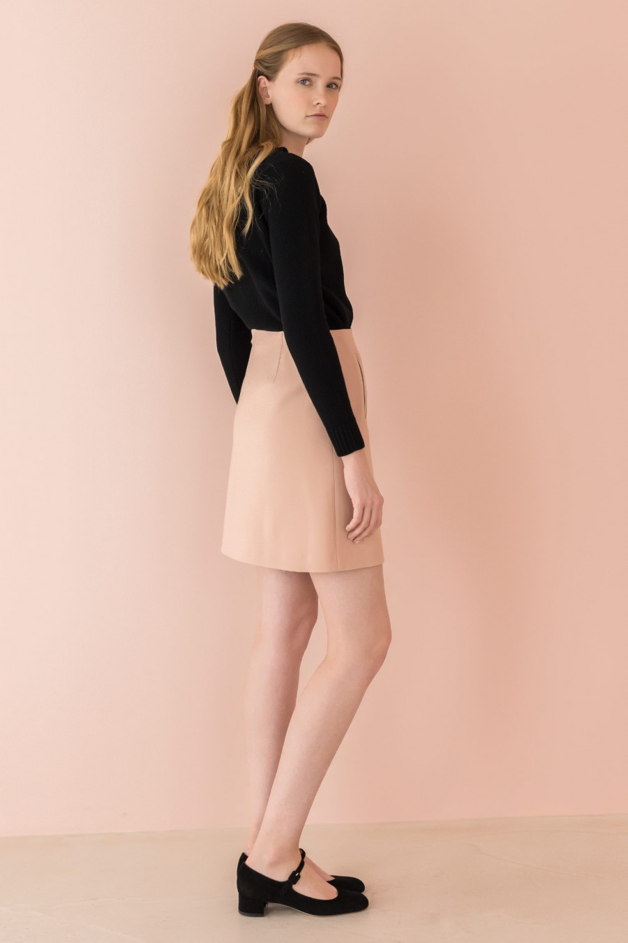 pink-powder A-line skirt