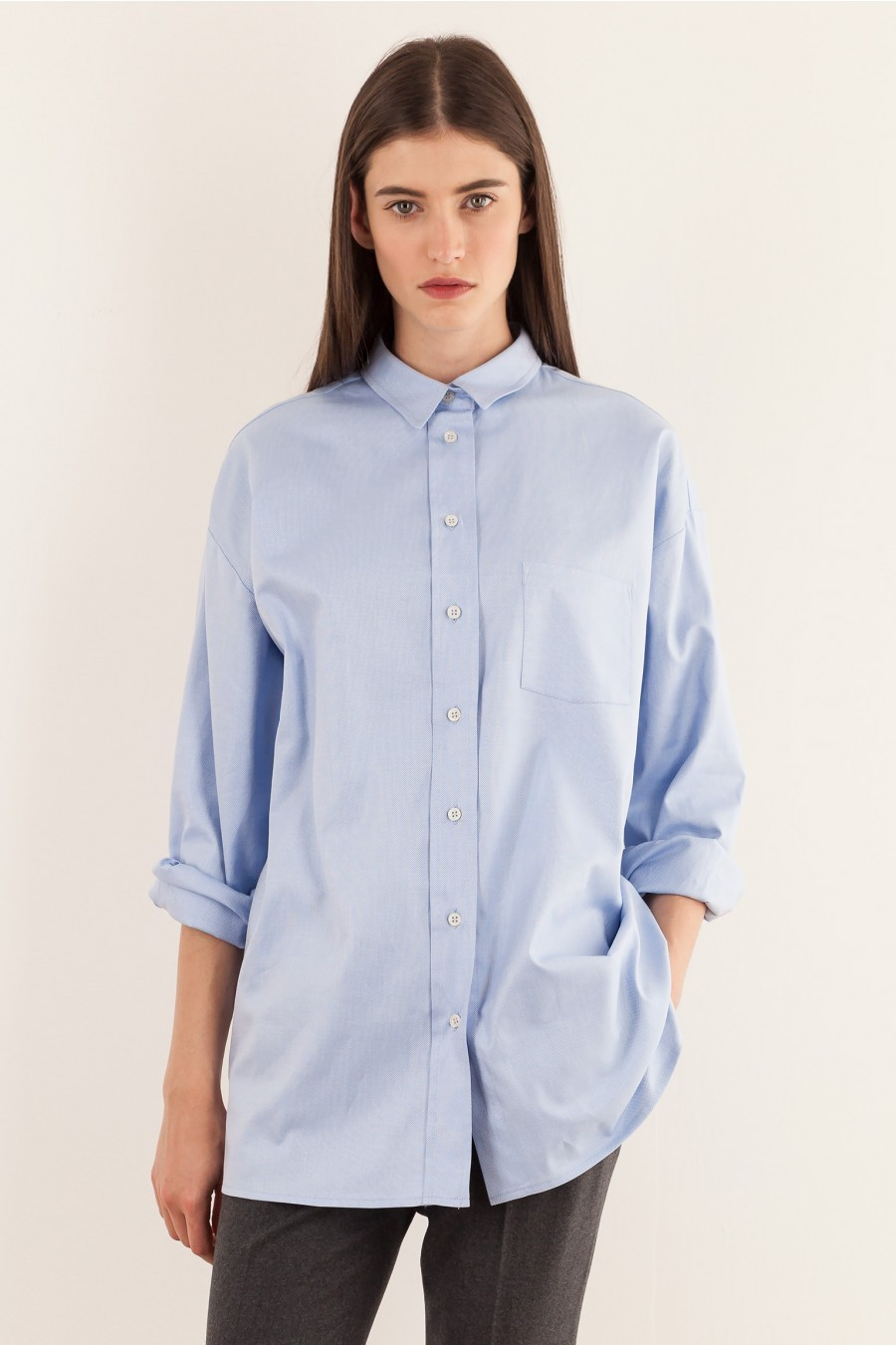 Over shirt in oxford fabric light blue