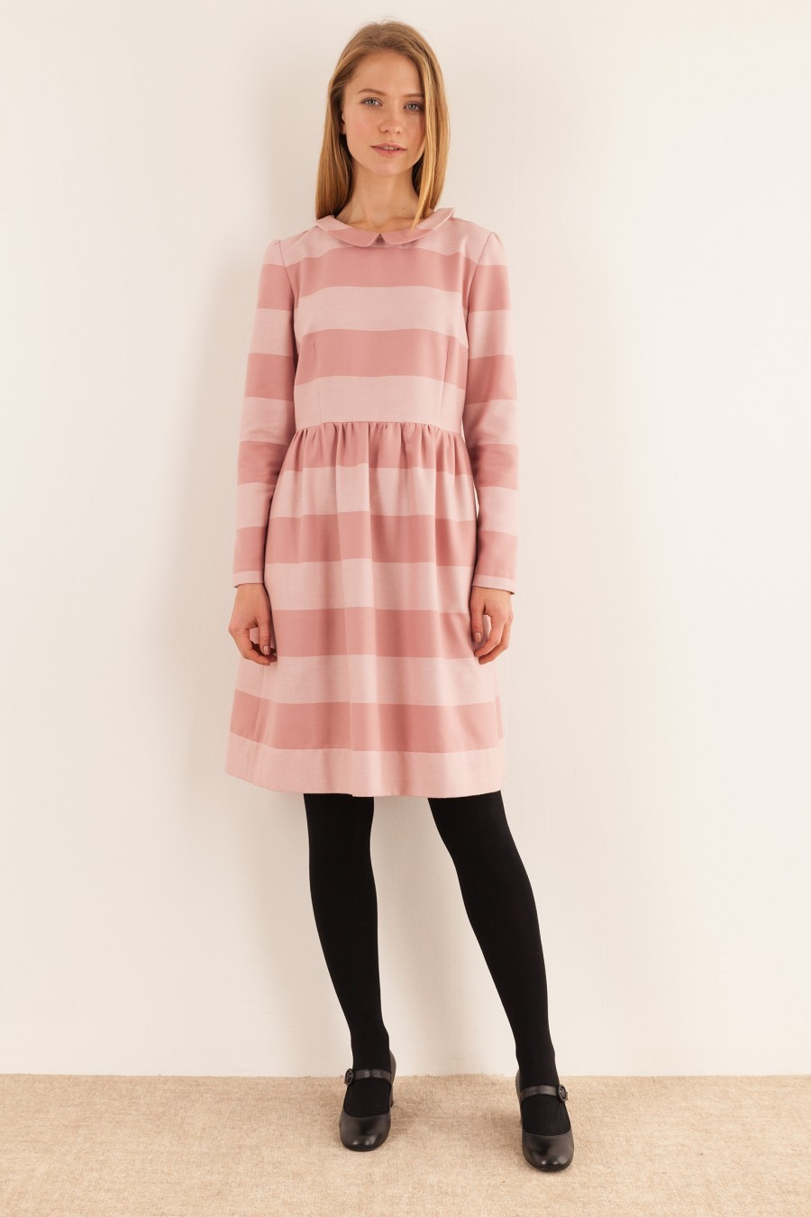 Longuette striped pink dress