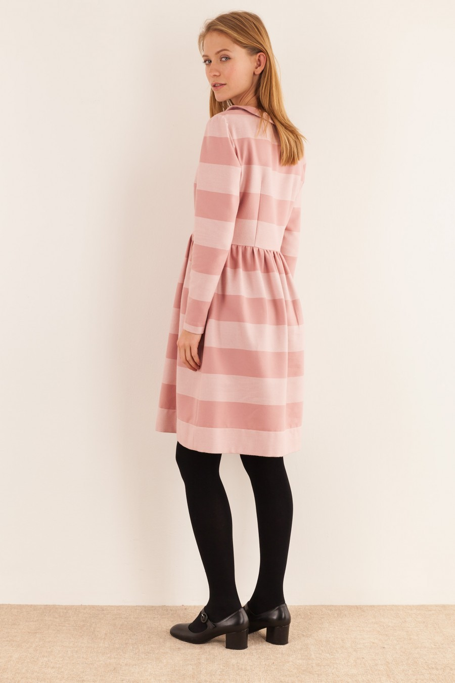 long sleeve striped dress lazzari