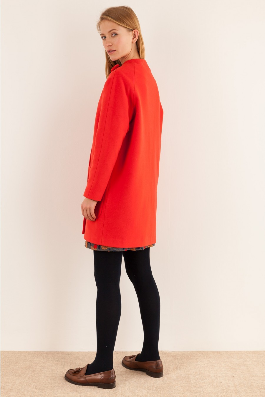 Coat with bow winter red