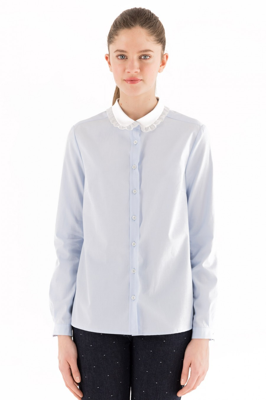 Light blue Lazzari shirt white collar