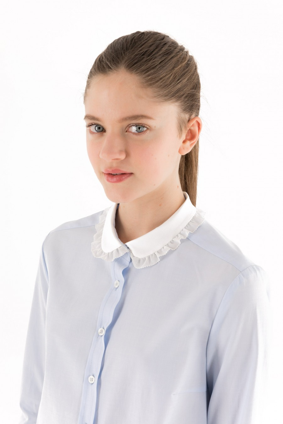 Light blue shirt embellished collar