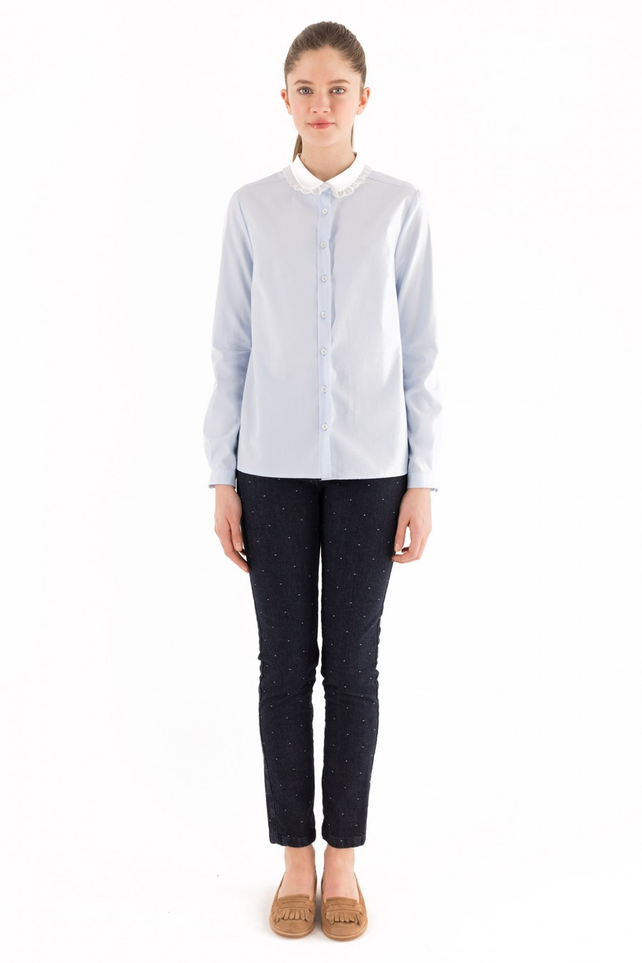Light Blue shirt bebè collar