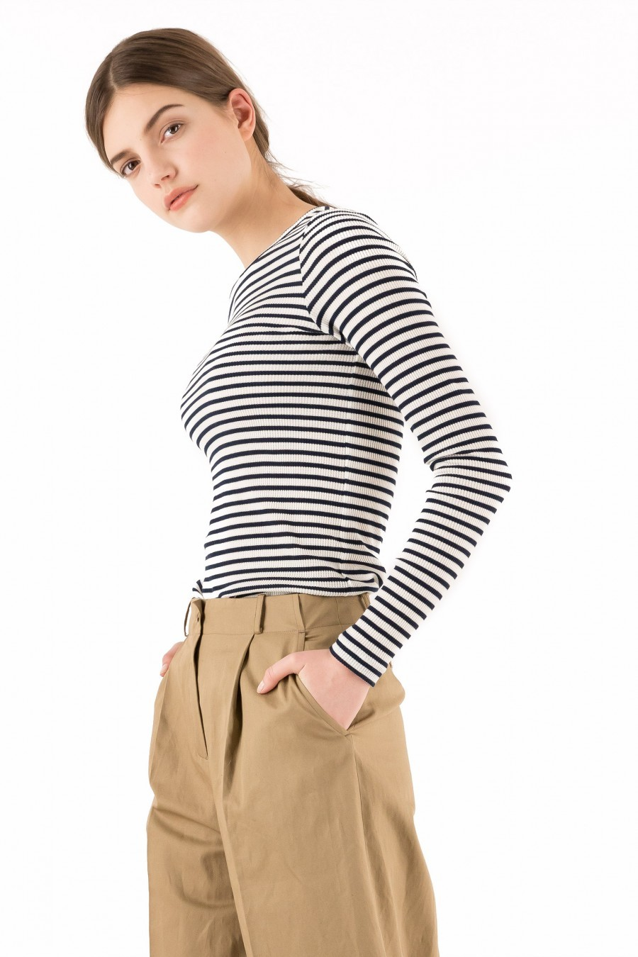 shirt long sleeves striped cotton
