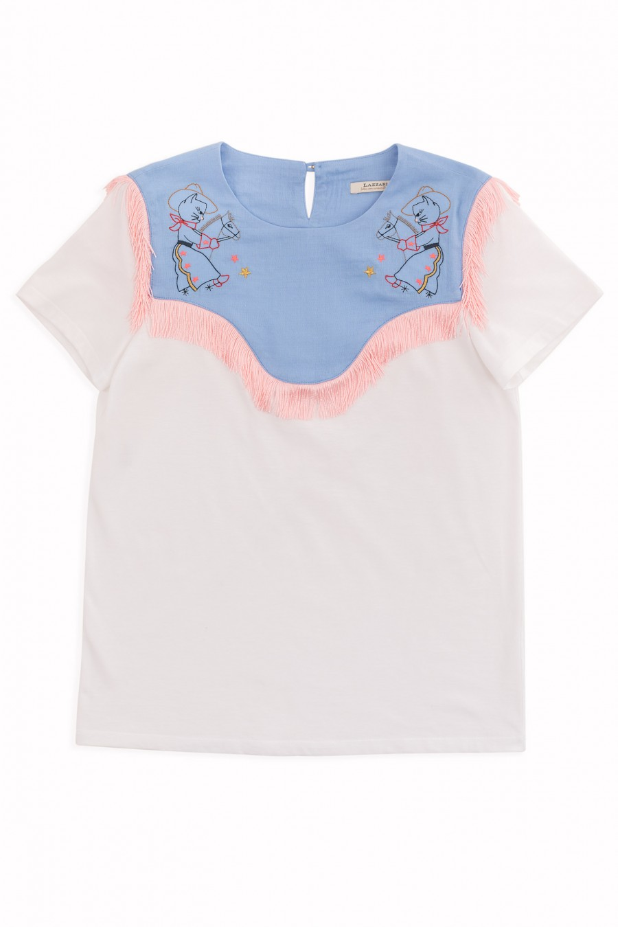 T-shirt with embroidered yoke
