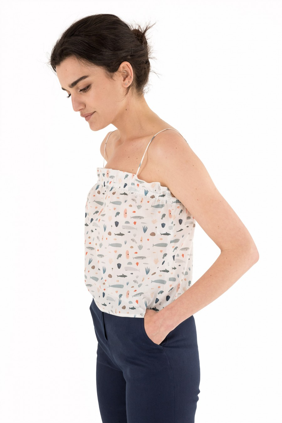 Summer top with sea pattern