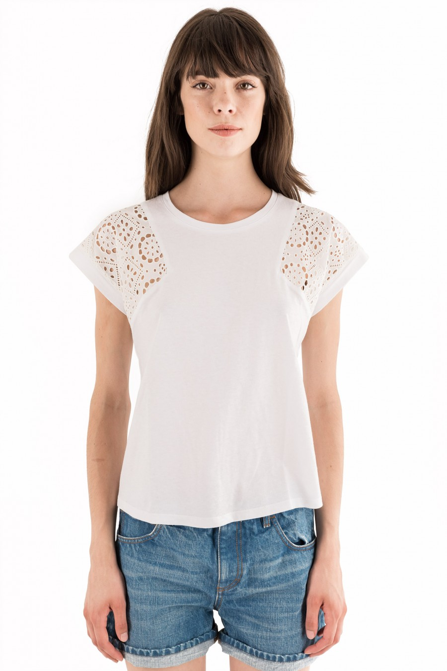 T-shirt with Broderie anglaise sleeves