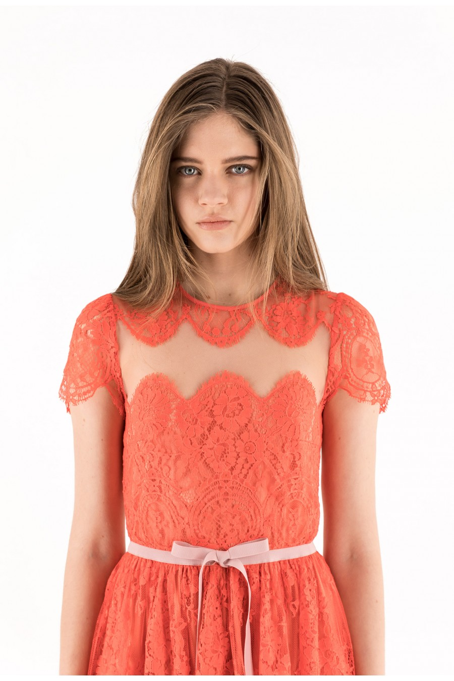 Red valenciennes lace dress