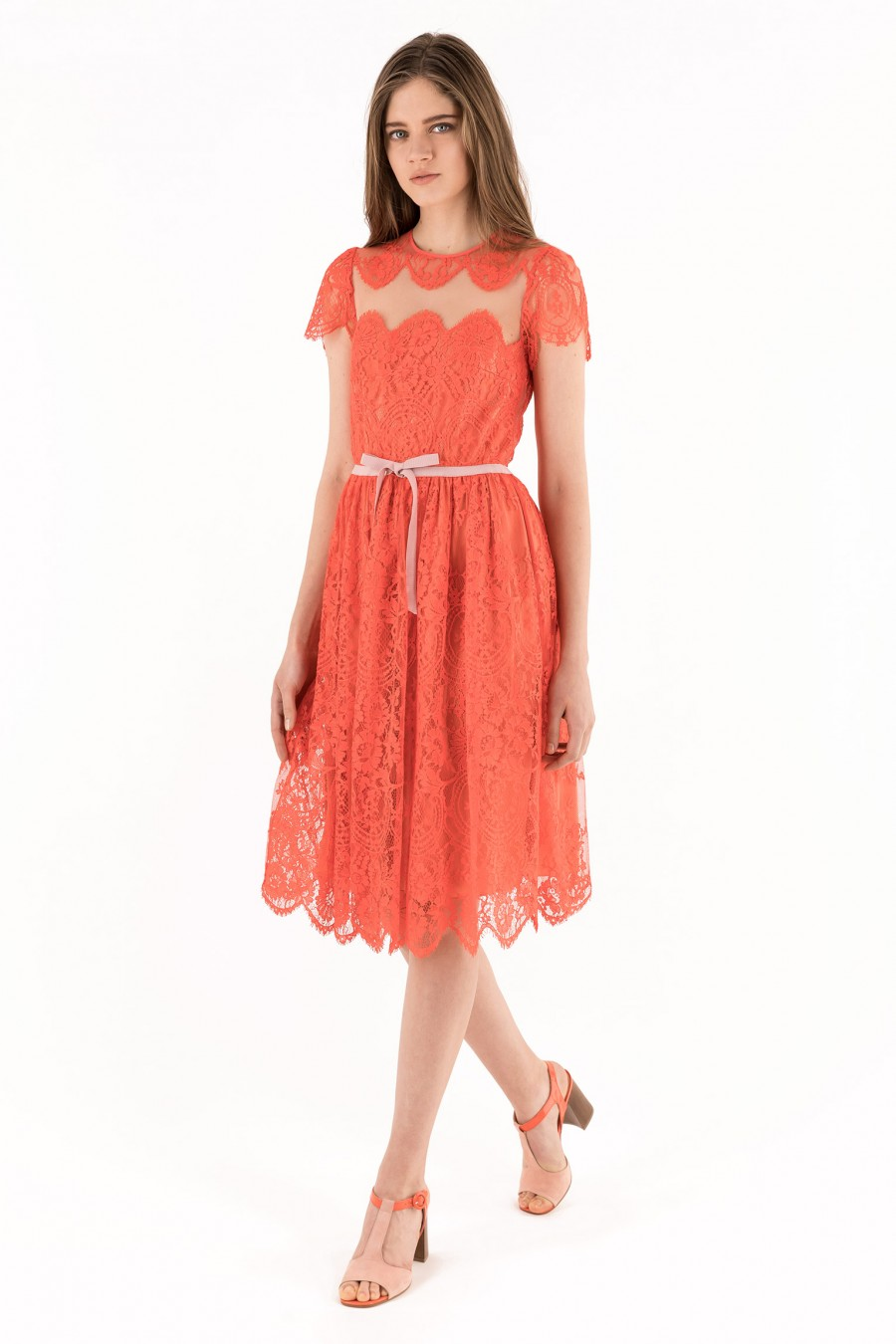 Neon red lace dress