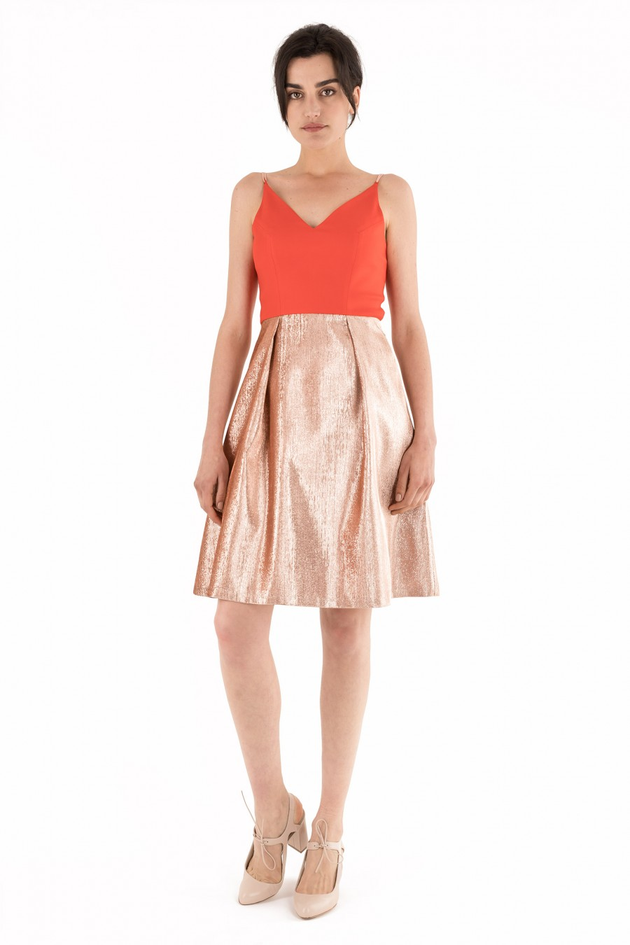 Dress with red top and golden skirt