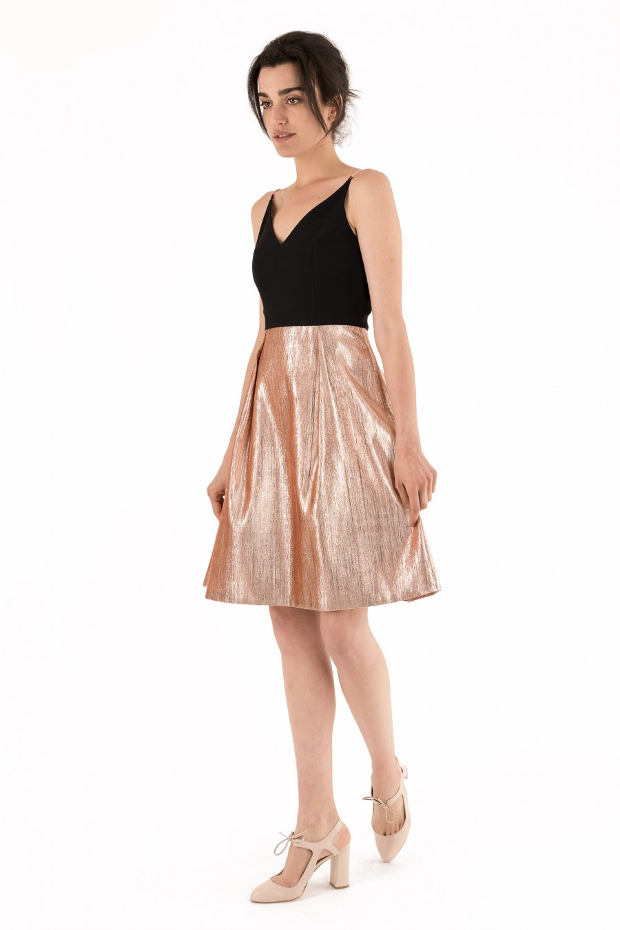 Dress with black top and golden skirt