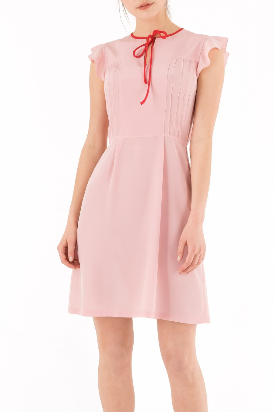 pink silk dress cap sleeve bow