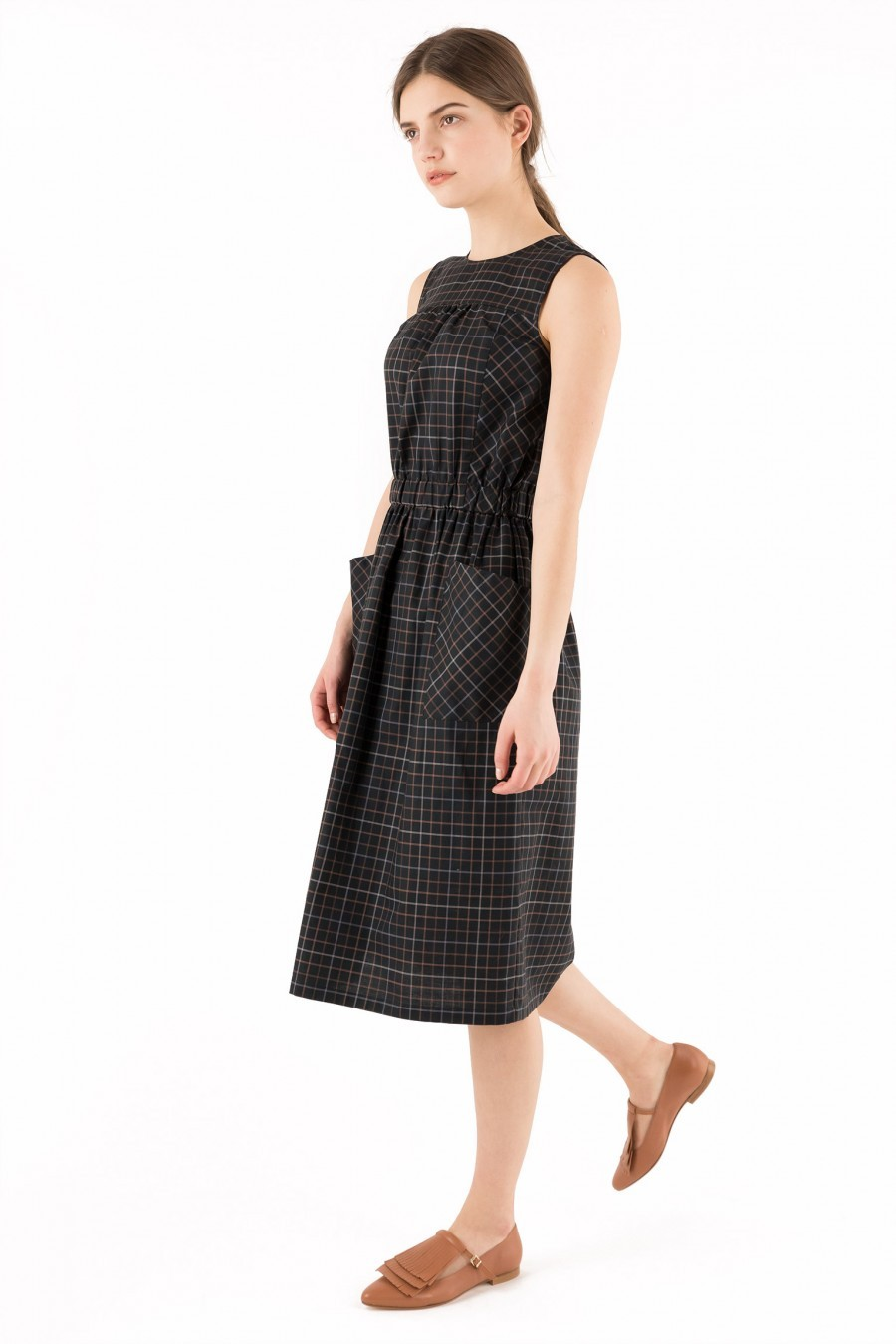 black tartan dress with pockets Lazzari