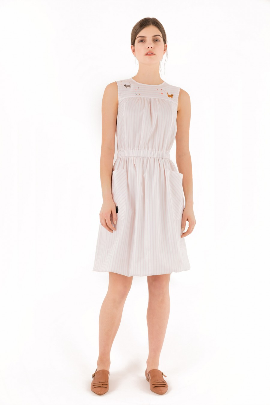 Summer dress with white and pink stripes