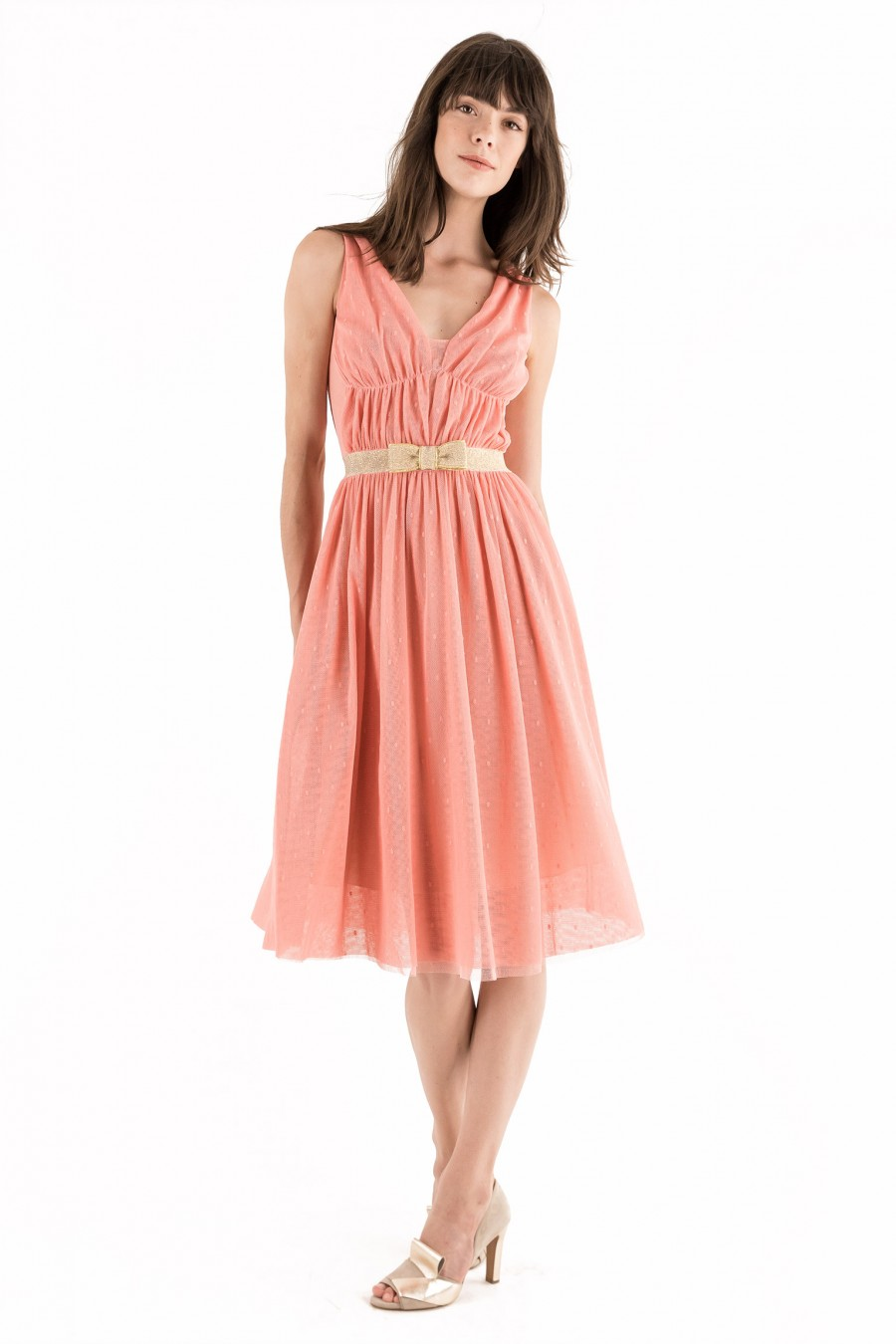 Gold and peach tulle dress