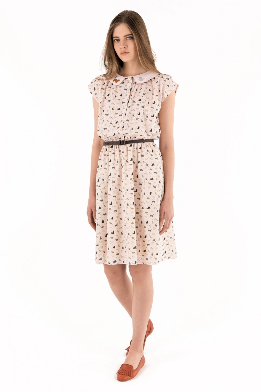 Poplin embroidered dress