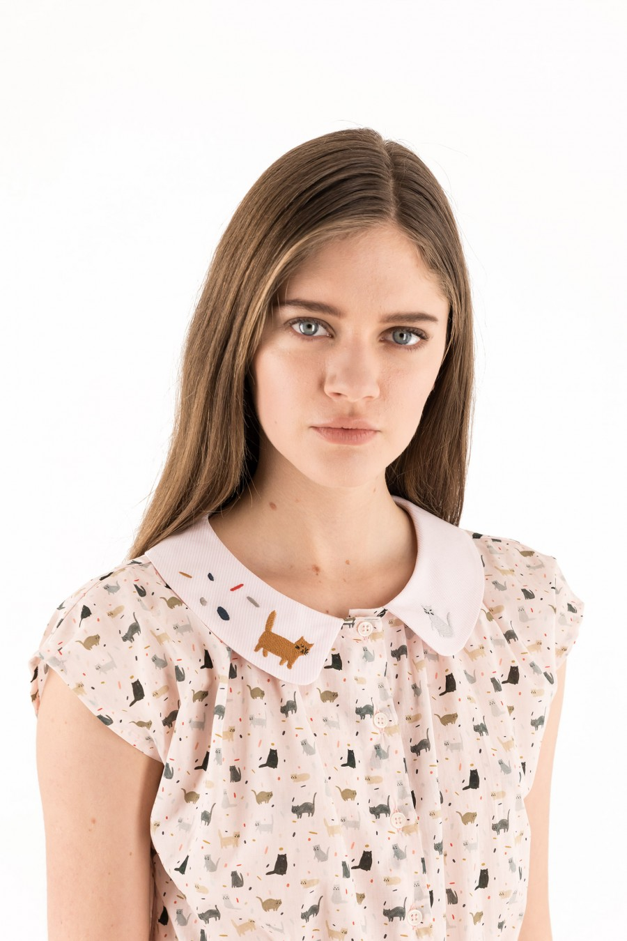 Dress with embroidered collar