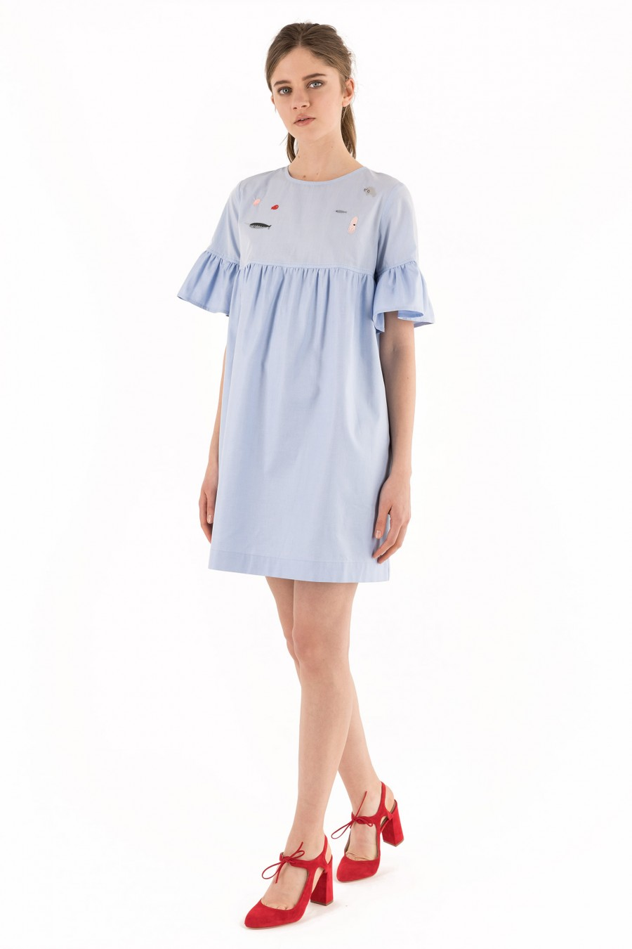 Light blue dress with embroidery