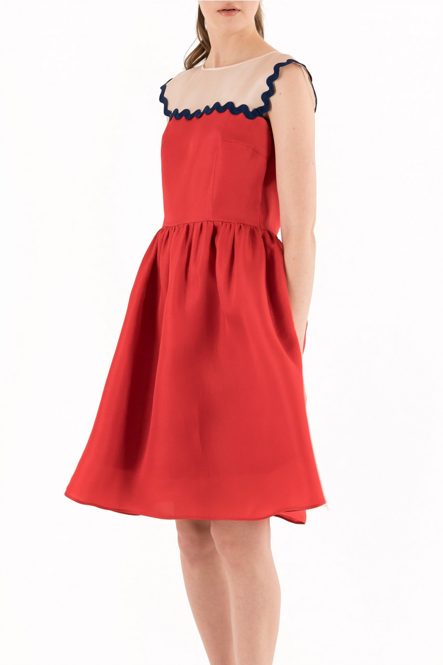 Red silk skater dress
