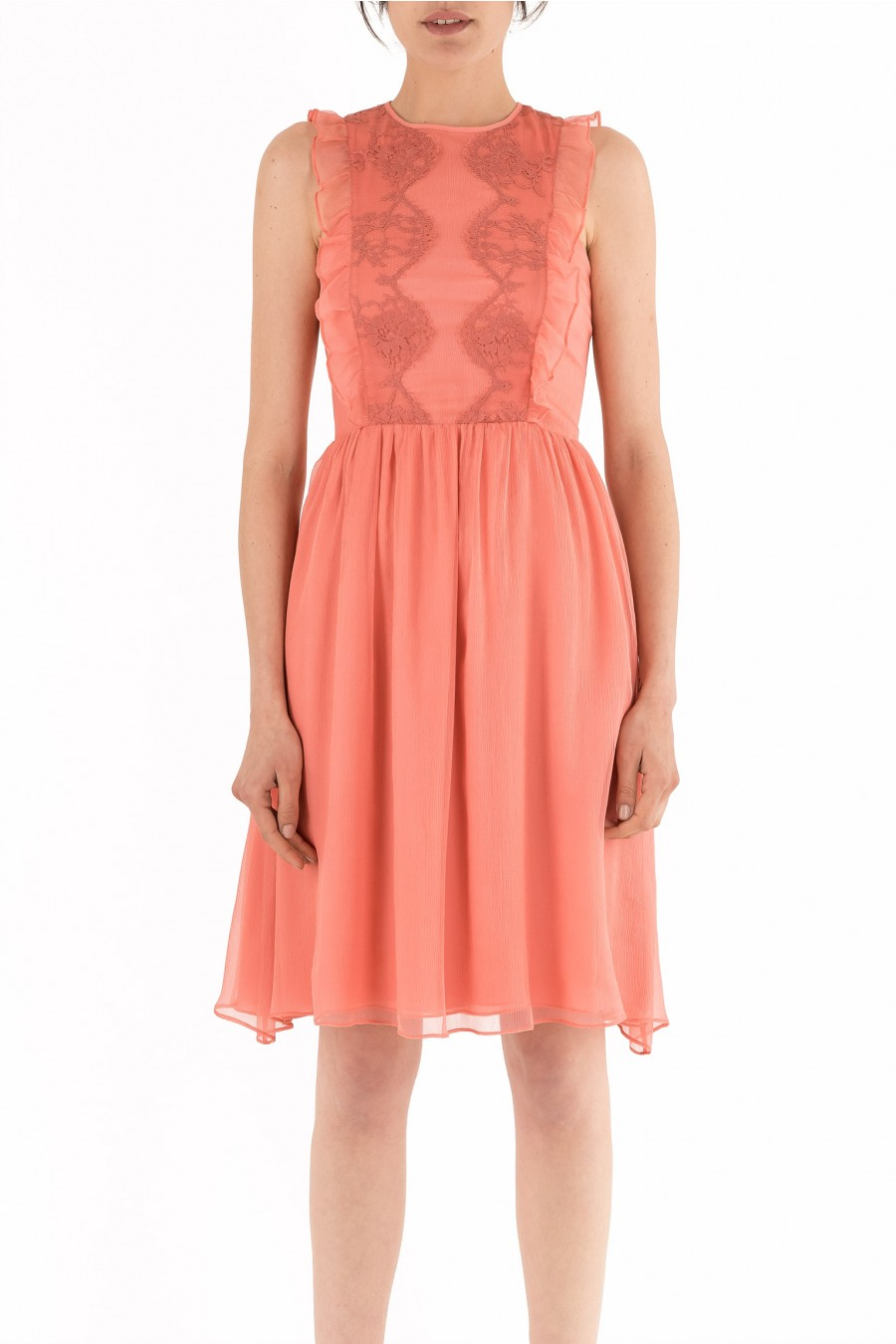 Peach silk dress with lace