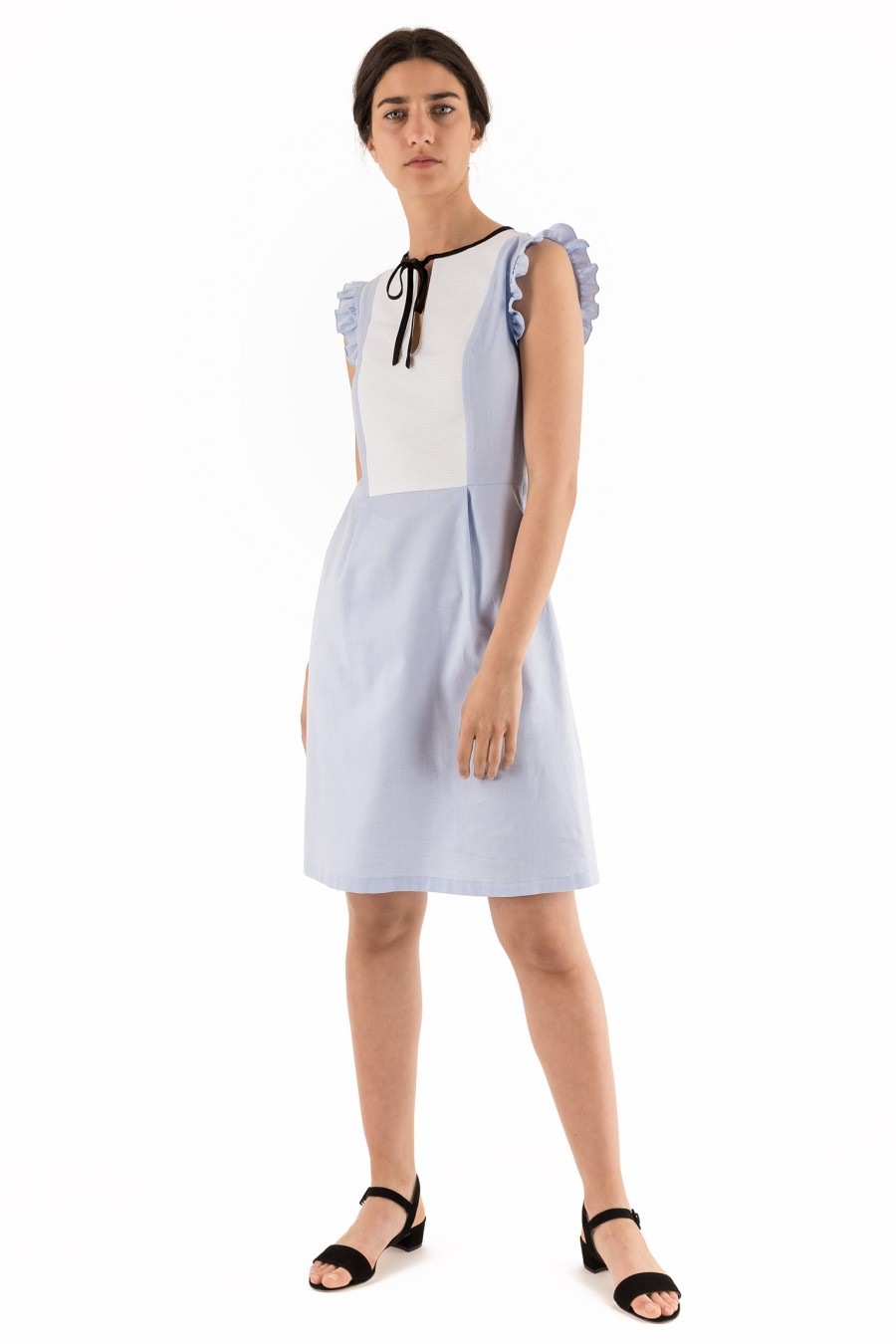 Light blue and white dress