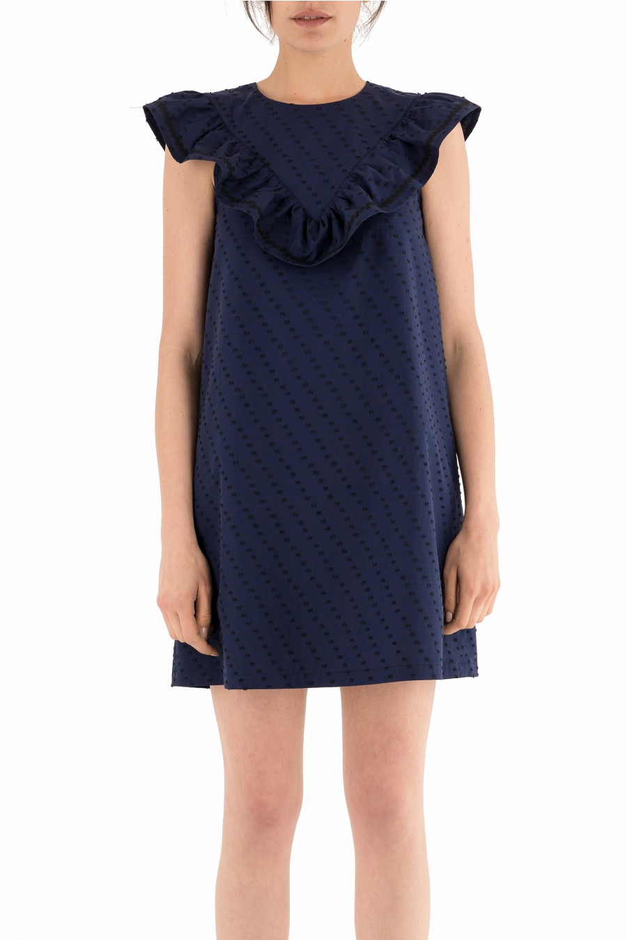 A-line dress with wide triangle collar